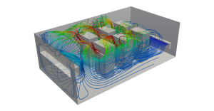 HVAC simulation server room CFD streamlines